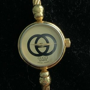 Authentic Gucci 2047–1 L cable gold bangle watch